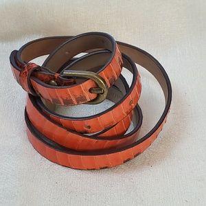 Ann Taylor Orange Skinny Belt sz M #1297